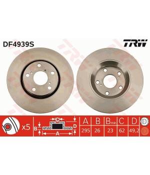 Тормозной диск передний TRW DF4939S Toyota Auris Avensis Verso