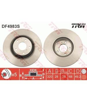 Тормозной диск передний TRW DF4983S Nissan Murano