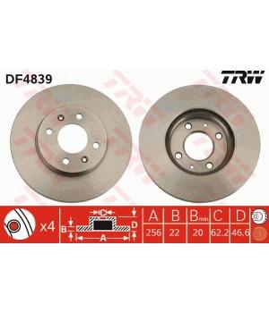 Тормозной диск передний TRW DF4839 Hyundai Accent i20 KIA Rio