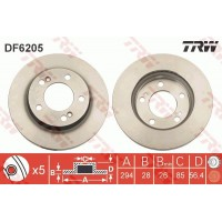 Тормозной диск передний TRW DF6205 Ssangyong Actyon Kyron Rexton