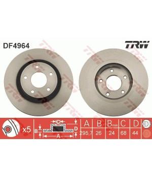 Тормозной диск передний TRW DF4964 Nissan Juke Qashqai X-Trail