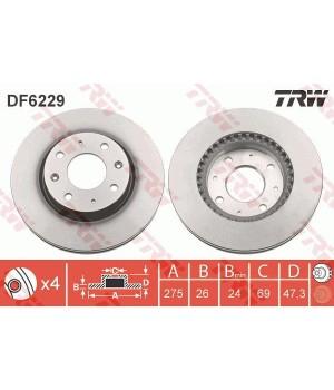 Тормозной диск передний TRW DF6229 KIA Cerato