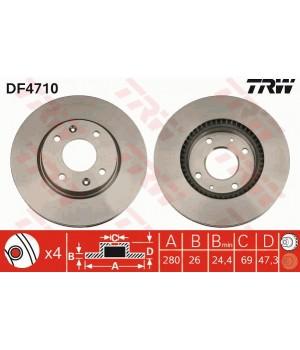 Тормозной диск передний TRW DF4710 Hyundai KIA