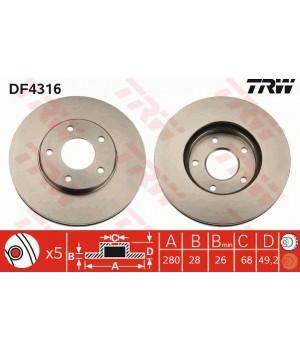 Тормозной диск передний TRW DF4316 Nissan Maxima Primera Almera X-Trail